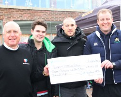 Club Captain, Ed Bartlett, presenting the cheque to Surrey Spoon Chairman, Brian Hodges, together with Harlequins and England full-back, Mike Brown. Courtesy of Surrey Mirror, pic by David Cook.