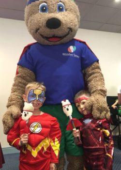 spoony mascot and children superheros